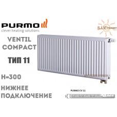 Радиатор Purmo Ventil Compact CV11 300x400 нижнее подключение