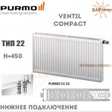 Радиатор Purmo Ventil Compact CV22 450x600 нижнее подключение