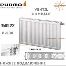 Радиатор Purmo Ventil Compact CV22 500x600 нижнее подключение