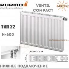 Радиатор Purmo Ventil Compact CV22 600x600 нижнее подключение