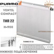 Радиатор Purmo Ventil Compact CV22 900x600 нижнее подключение
