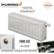 Радиатор Purmo Ventil Compact CV33 300x600 нижнее подключение