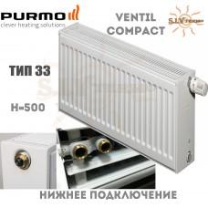 Радиатор Purmo Ventil Compact CV33 500x600 нижнее подключение
