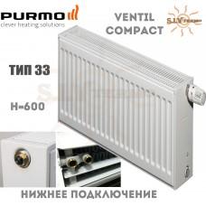 Радиатор Purmo Ventil Compact CV33 600x600 нижнее подключение