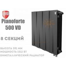 Радиатор Royal Thermo PianoForte 500 VD,8 секций (черный) нижний подвод