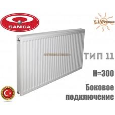 Радиатор стальной Sanica 11 тип 300x1000 боковое подключение