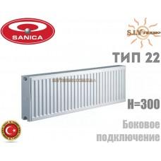 Радиатор стальной Sanica 22 тип 300x800 боковое подключение