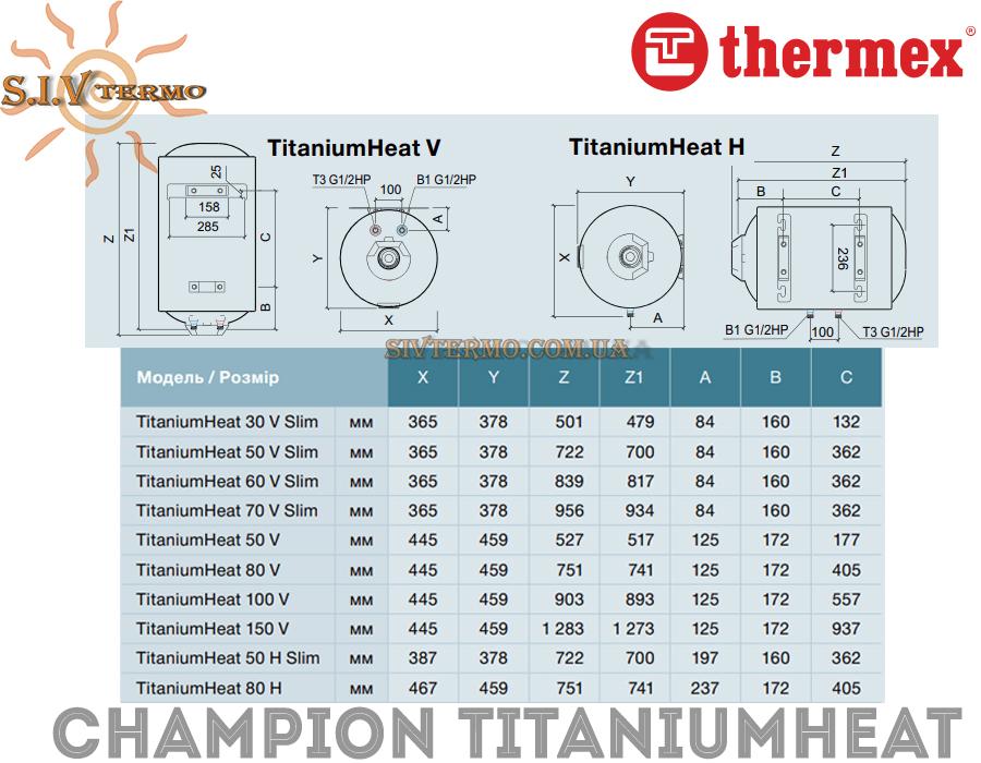 Thermex  003871  Водонагреватель Thermex Champion TitaniumHeat 50 V Slim вертикальный  Интернет - Магазин SIVTERMO.COM.UA все права защищены. Использование материалов сайта возможно только со ссылкой на источник.    Водонагреватели электрические